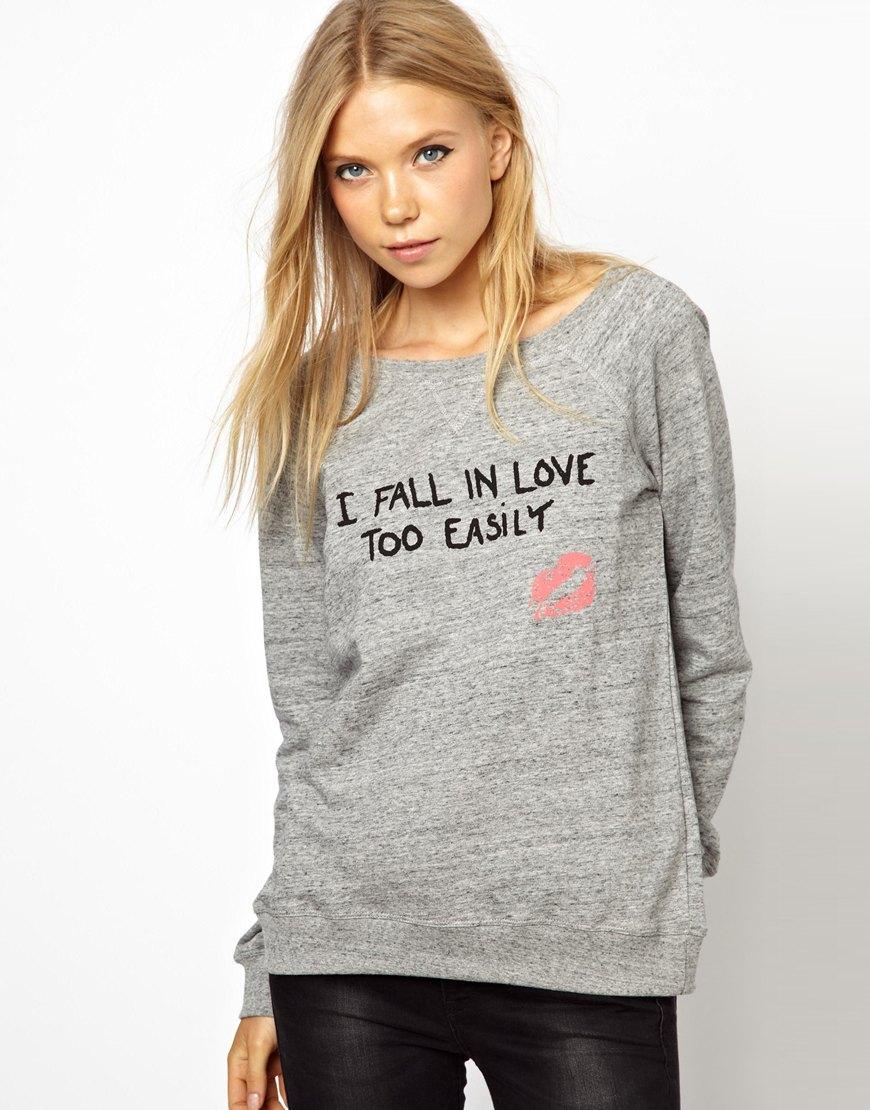 Lyst Ganni I Fall In Love Too Easily Sweatshirt In Gray