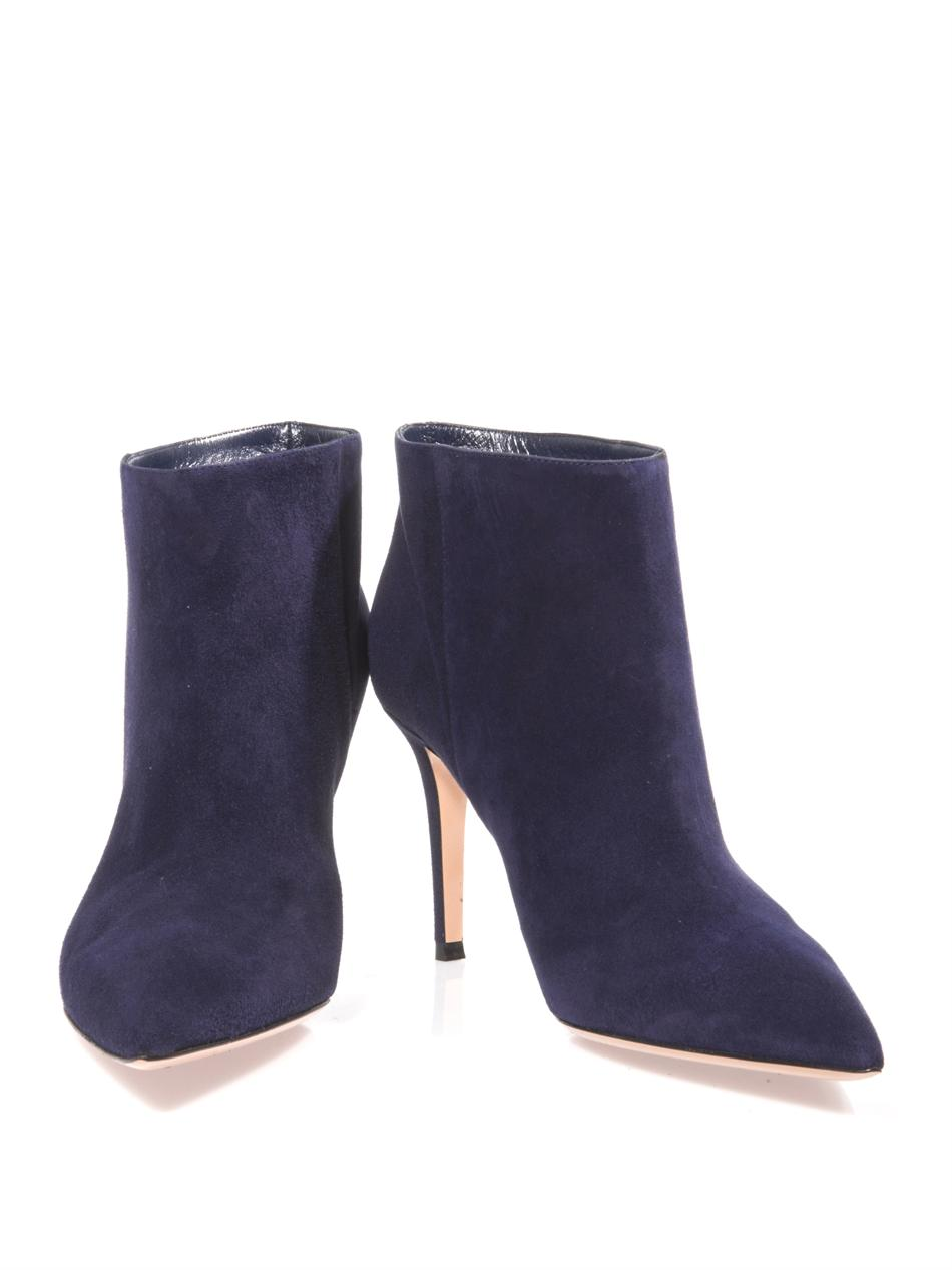 Gianvito rossi Suede Point Toe Ankle Boots in Blue | Lyst