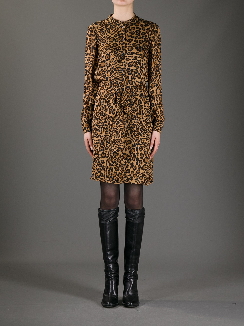 Lyst Gucci Leopard Print Blouse Dress In Brown