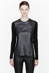 Helmut Lang Black Leather and Jersey Top - Lyst