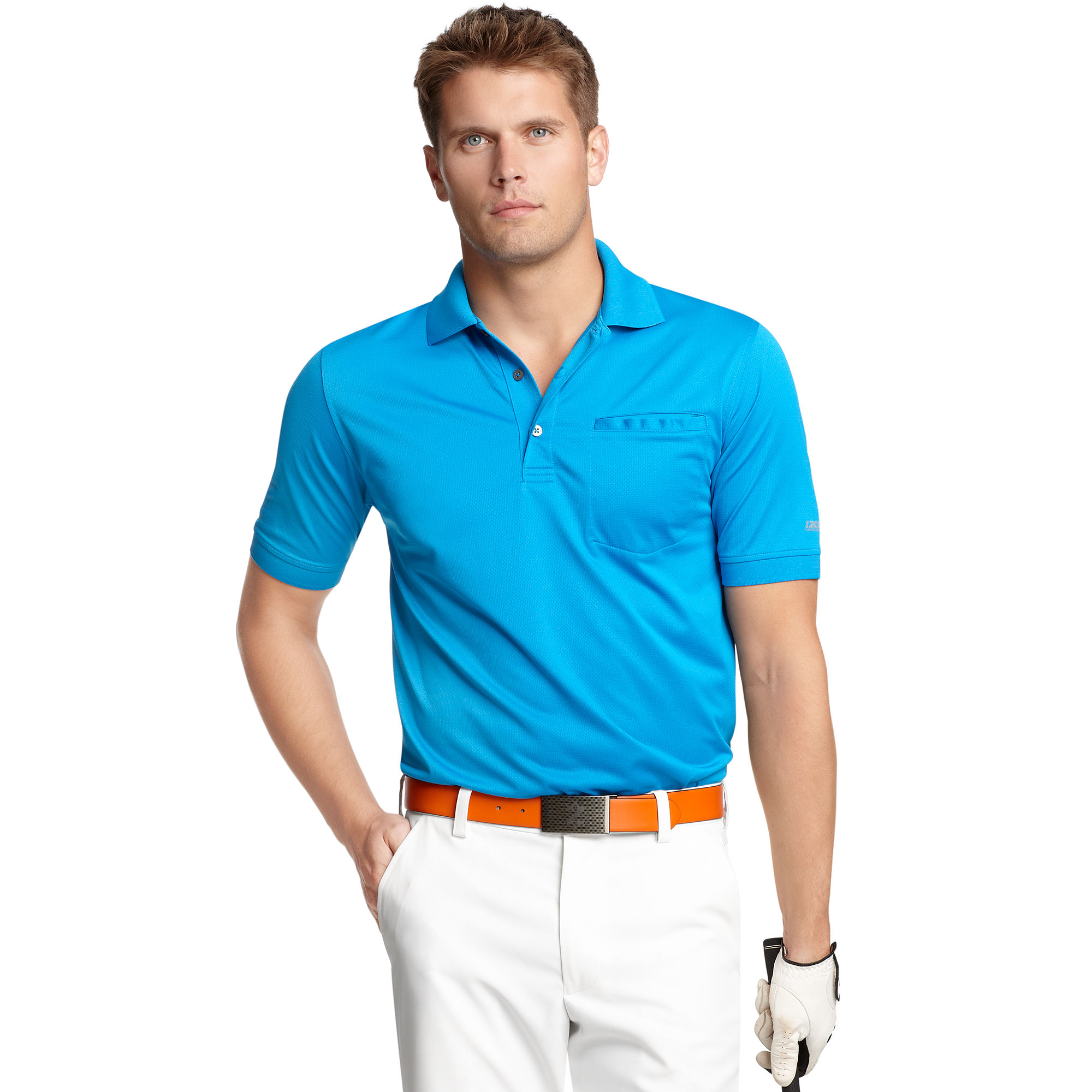 Lyst izod slim fit pocket polo shirt in blue for men for Polo t shirts with pocket online
