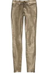 J Brand Metallic Stretch-leather Skinny Pants - Lyst