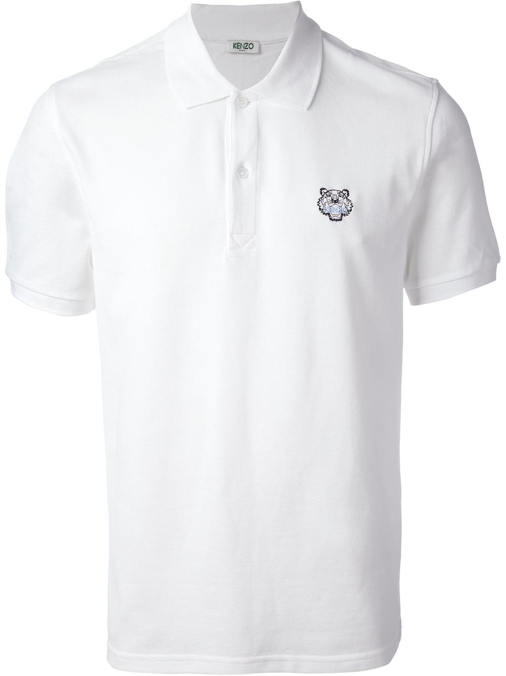 9615e6b36d KENZO Logo Print Polo Shirt in White for Men - Lyst