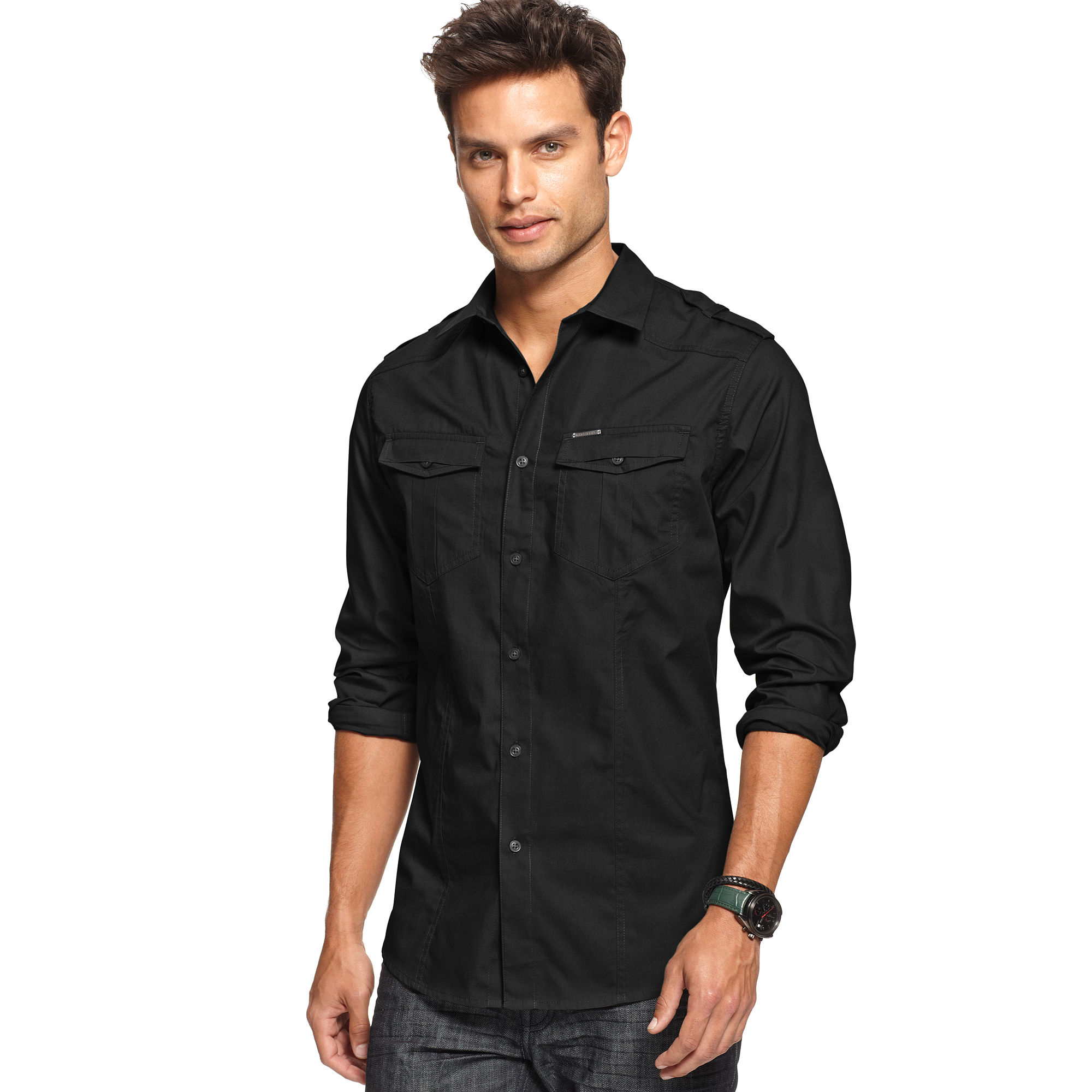 Marc ecko long sleeve solid military shirt in black for for Marc ecko dress shirts