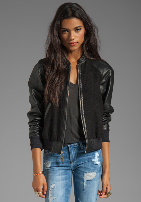 Milly Runway Kiss Jacquard Leather Sleeve Bomber Jacket in Black ...