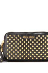 Miu Miu Studded Leather Clutch - Lyst