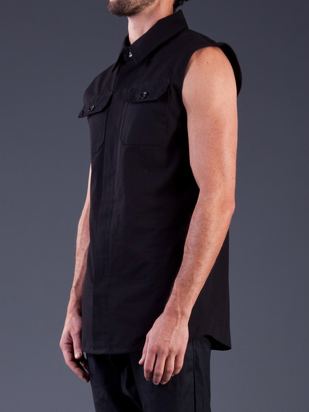 Odyn vovk sleeveless button up shirt in black for men lyst for Sleeveless cotton button down shirts