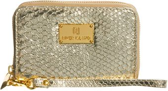 River Island Metallic Finish Zip Around Phone Holder Purse - Lyst