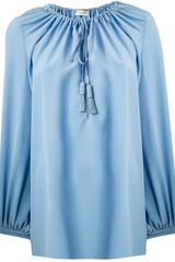 Saint Laurent Drawstring Blouse - Lyst