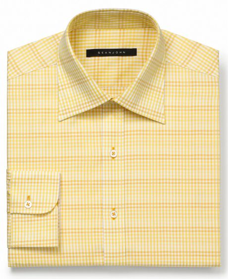 Sean john yellow gingham check longsleeved shirt in yellow for Mens yellow gingham shirt