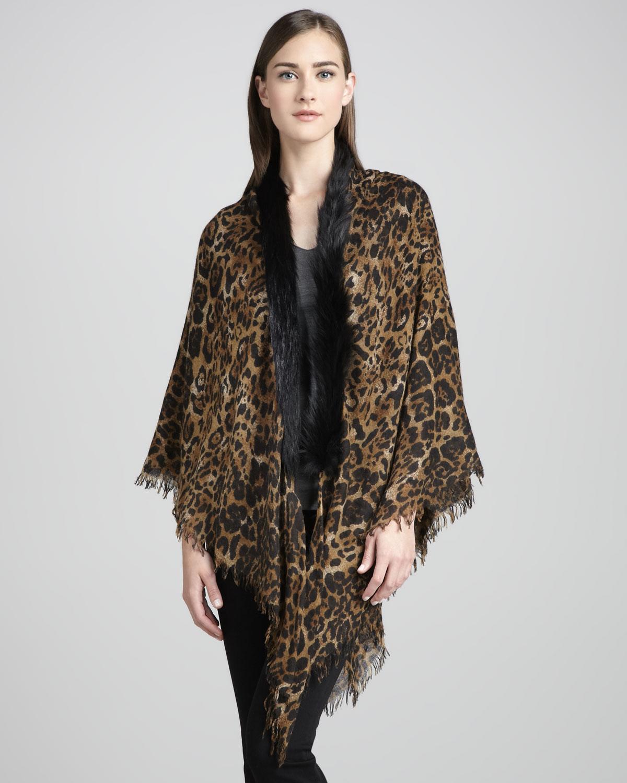 Sofia Cashmere Fox Fur-trim Leopard-print Shawl In Brown