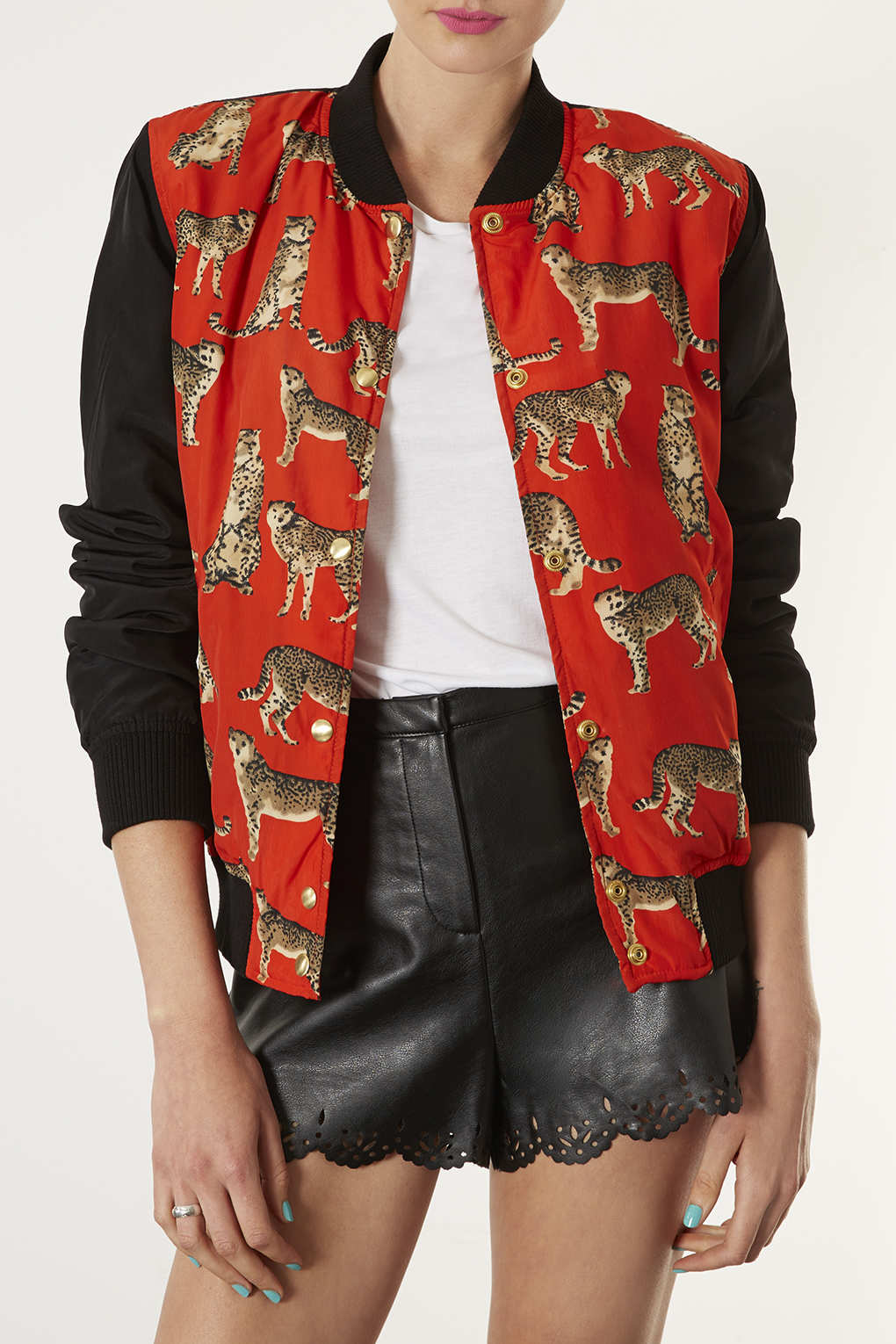 Topshop Cat Print Bomber Jacket in Red | Lyst