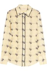 Tory Burch Harriet Sparrow-print Silk Crepe De Chine Shirt - Lyst