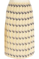 Tory Burch Kara Sparrowprint Silk Crepe De Chine Skirt - Lyst