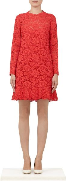 Valentino Cotton-blend Lace Dress - Lyst
