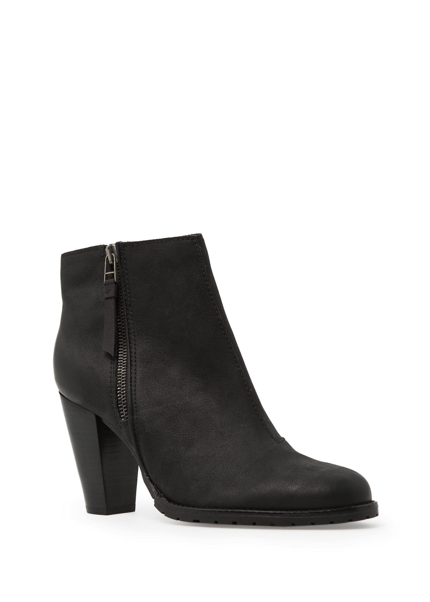 Mango Wooden Heel Leather Ankle Boots In Black Lyst