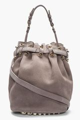 Alexander Wang Taupe Leather and Silver Studded Diego Bucket Bag - Lyst