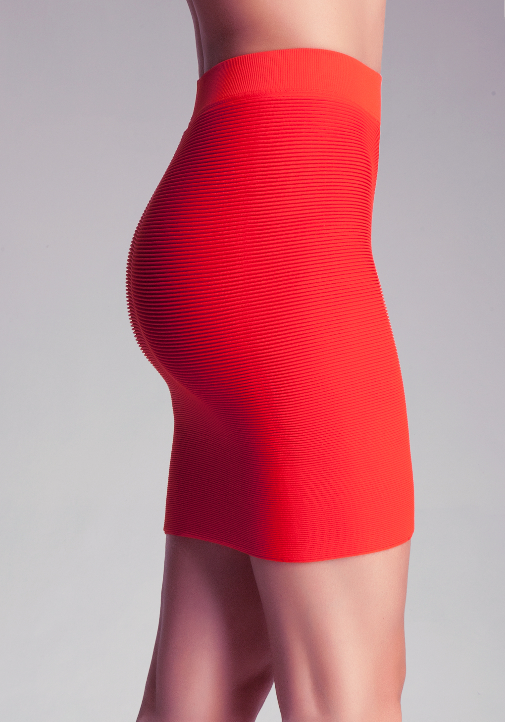 Bebe Ribbed Bodycon Mini Skirt in Red | Lyst