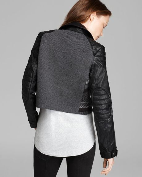 Burberry Brit Cropped Sweater Moto Jacket With Leather