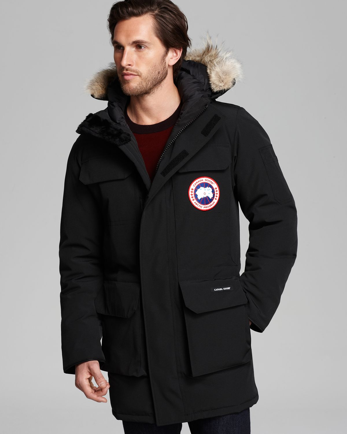 lyst canada goose citadel parka with fur hood in black. Black Bedroom Furniture Sets. Home Design Ideas