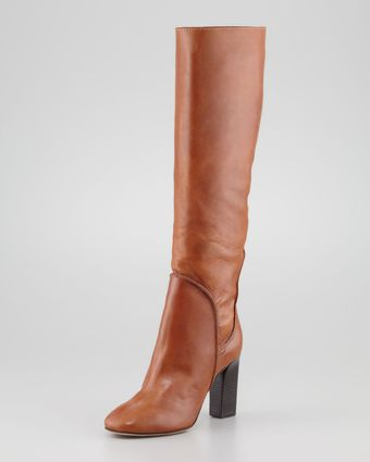 Diane Von Furstenberg Genna Tall Leather Slouch Boot Cognac - Lyst