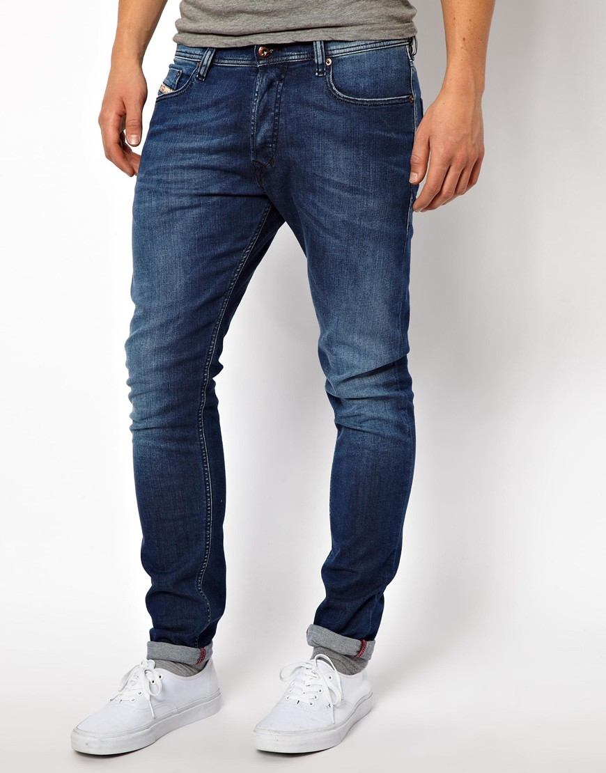 Diesel Jeans Tepphar Slim Tapered 818t Mid Wash in Blue for Men | Lyst