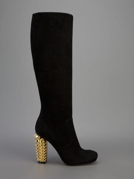 fendi studded knee high boot in black lyst