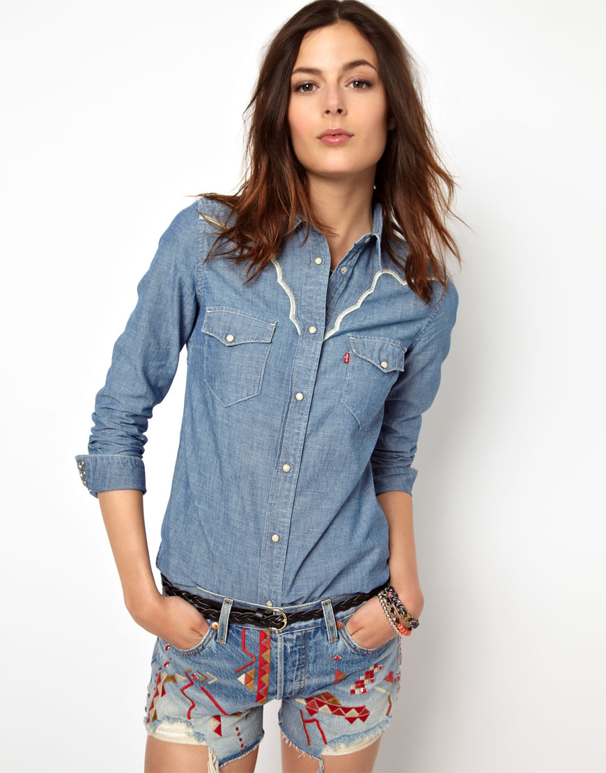 Lyst asos levis denim western shirt in blue for Blue denim shirt for womens
