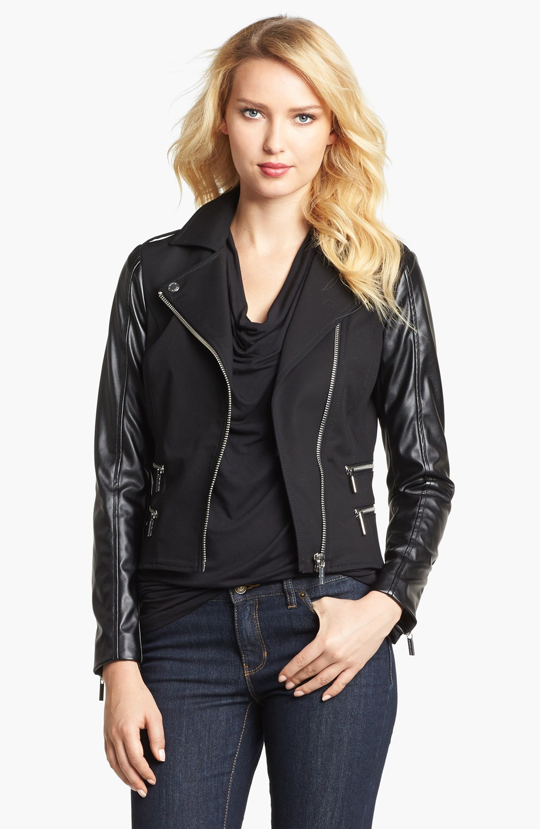 michael michael kors knit faux leather moto jacket in black lyst. Black Bedroom Furniture Sets. Home Design Ideas
