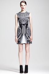 Peter Pilotto Printed Silk Fitandflare Dress - Lyst