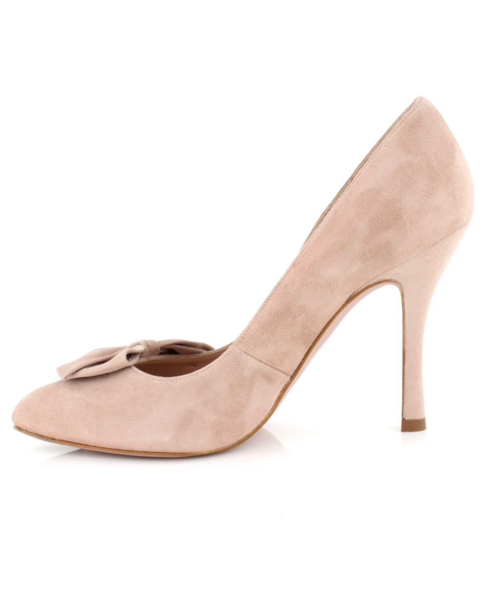 69b474235a Pura López Nude Suede Bow Pump in Natural - Lyst