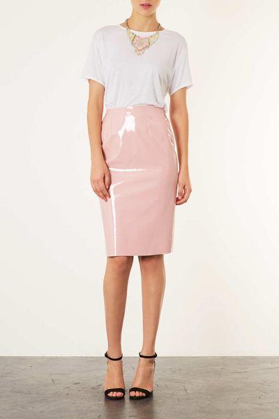 topshop pale pink vinyl pencil skirt in pink pale pink