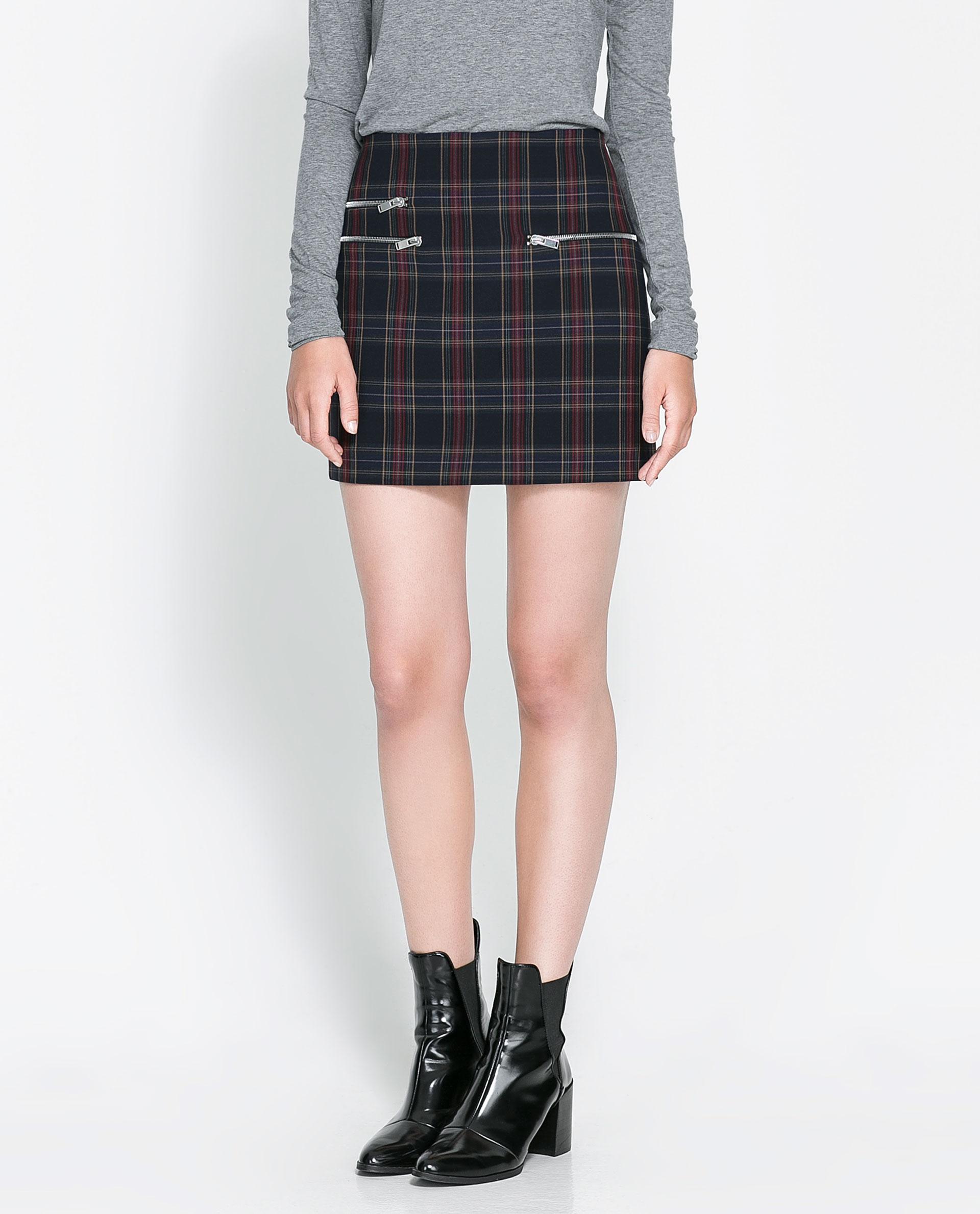 Zara Checked Mini Skirt in Blue | Lyst
