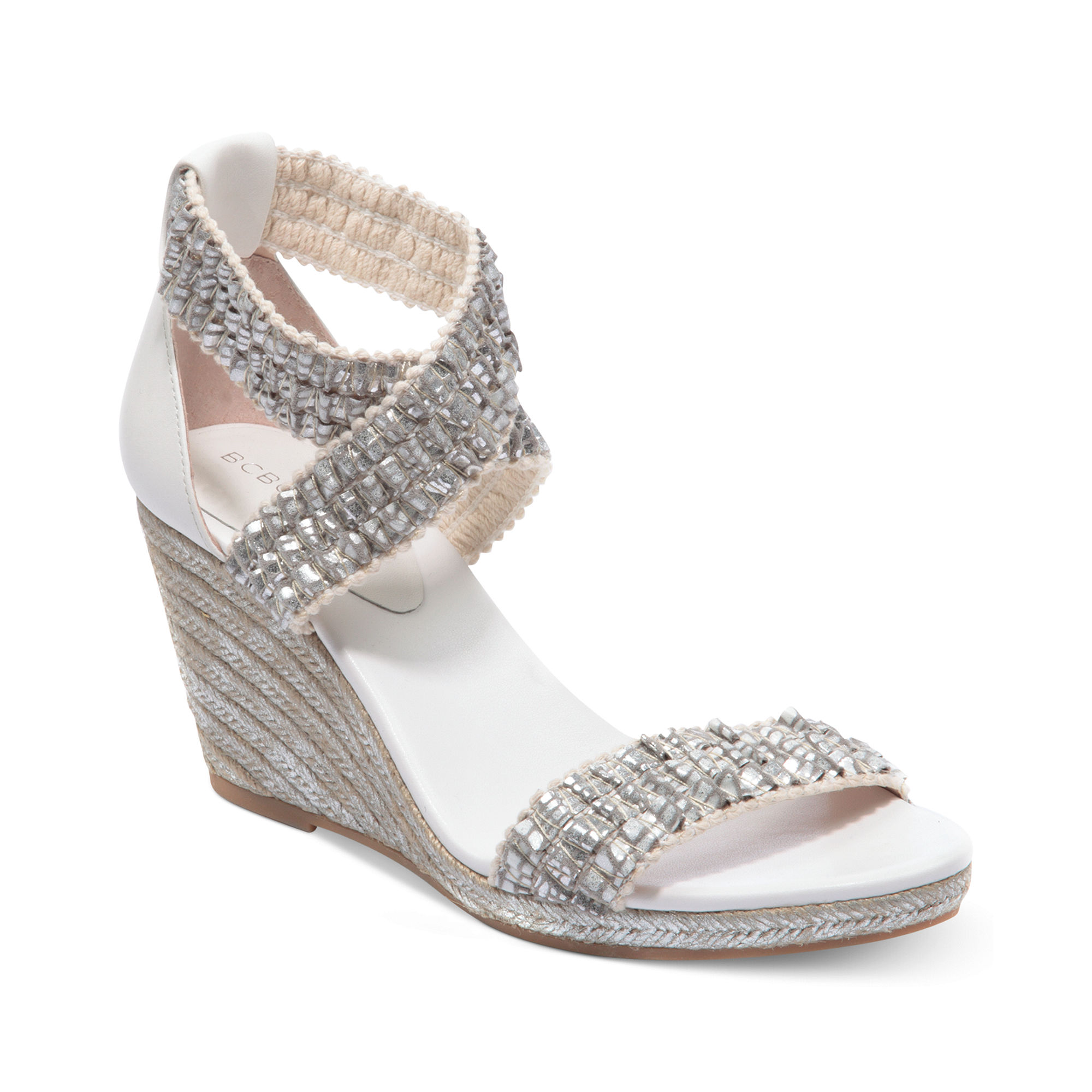 Bcbgeneration Barca Platform Wedge Sandals In Silver
