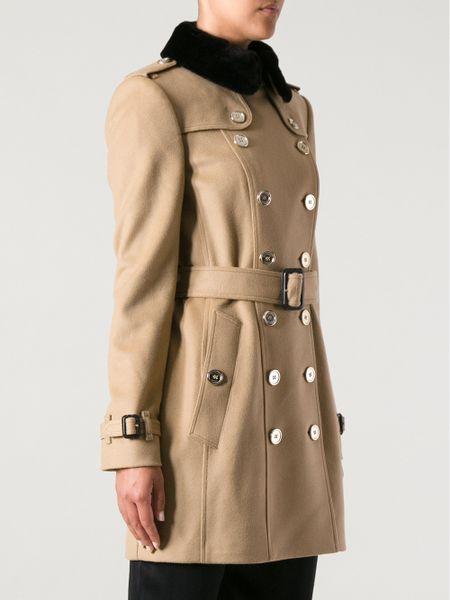 Burberry Fur Collar Coat In Brown Camel Lyst