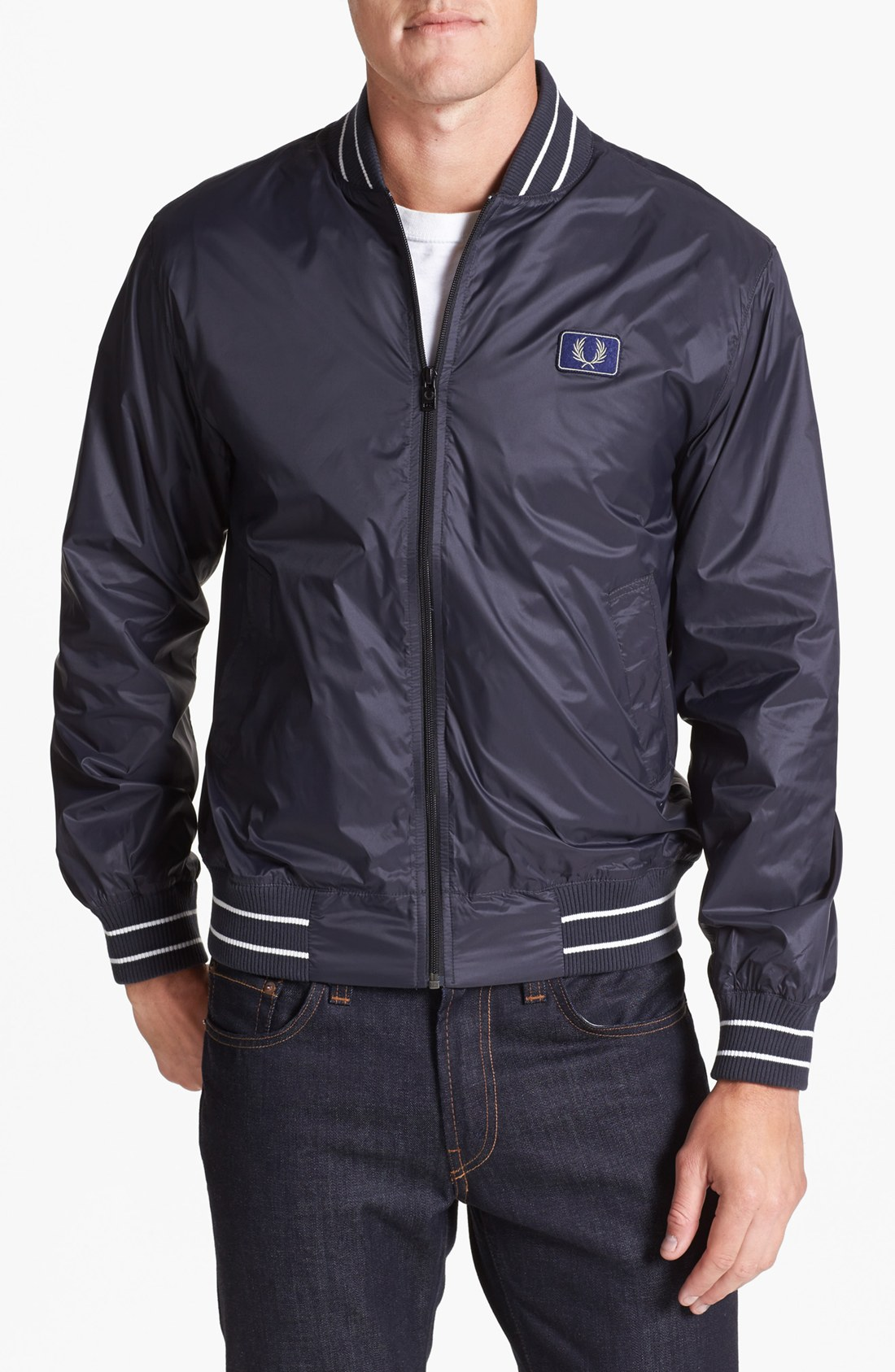 fred perry tipped bomber jacket in blue for men lyst. Black Bedroom Furniture Sets. Home Design Ideas