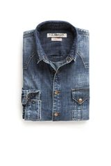 Mango Vintage Wash Denim Shirt - Lyst