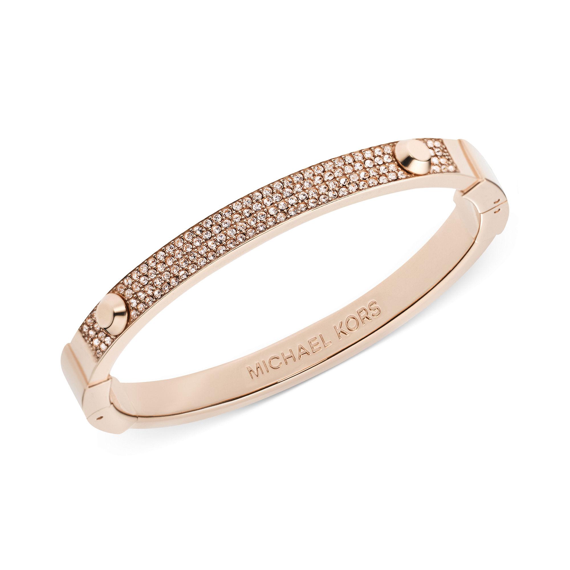 michael kors rose goldtone pave hinge bangle bracelet in. Black Bedroom Furniture Sets. Home Design Ideas