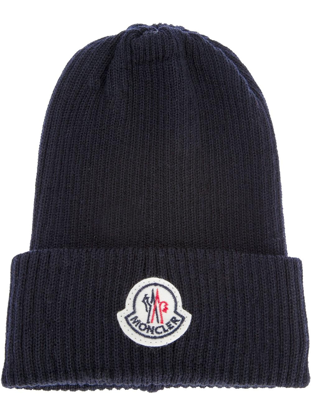 Moncler Branded Beanie Hat In Blue For Men Navy Lyst