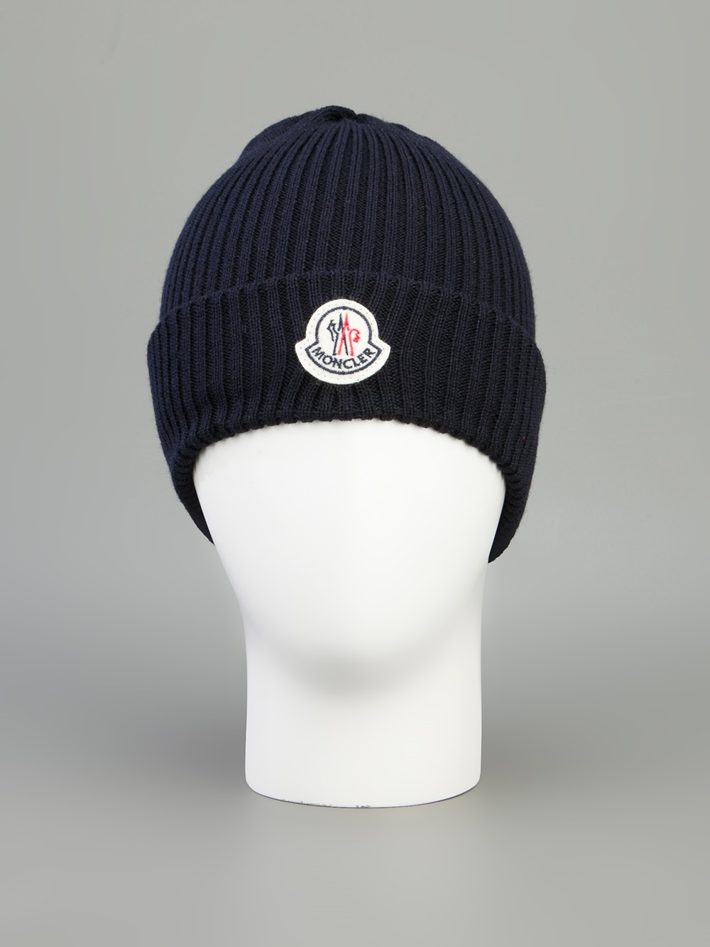 2740e49079d338 Moncler Branded Beanie Hat in Blue for Men - Lyst