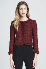 Alice + Olivia Alice Olivia Kidman Metallic Tweed Jacket Red - Lyst