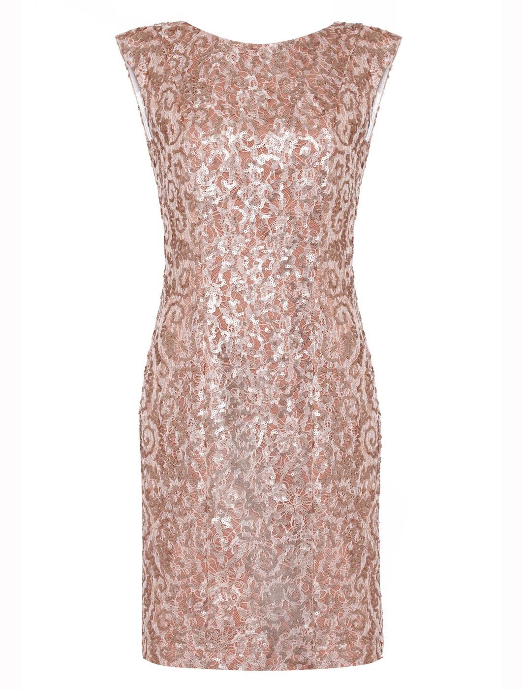 Almost Famous Sequin Dress In Pink Rose Gold Lyst