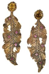 Choo Yilin Studded Leaf Blade Earrings - Lyst