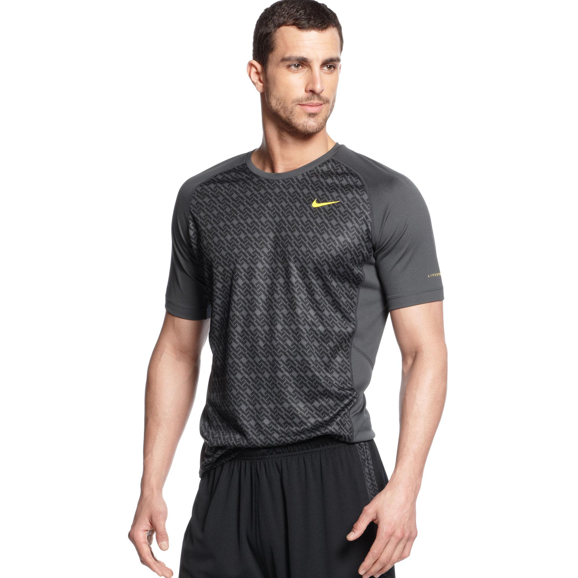 Nike Livestrong Sublimated Miler T Shirt In Gray For Men