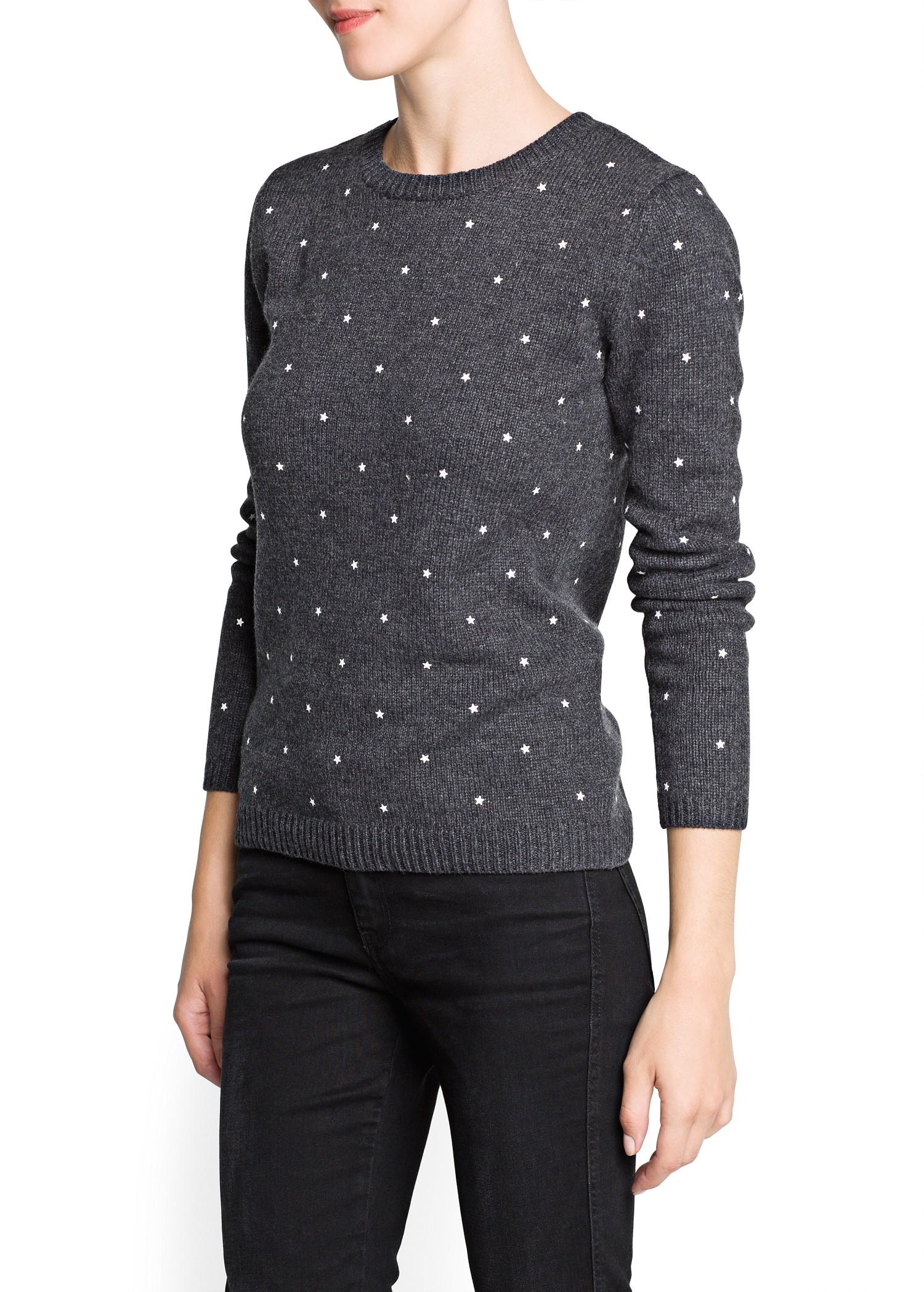 Lyst - Mango Star Appliqué Sweater in Gray