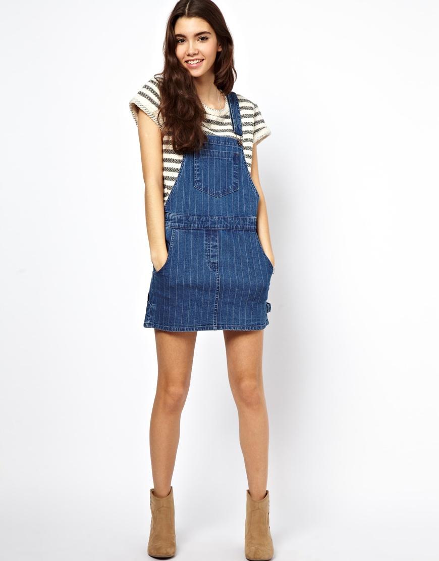 Asos Denim Pinafore Dress in Stripe in Blue | Lyst