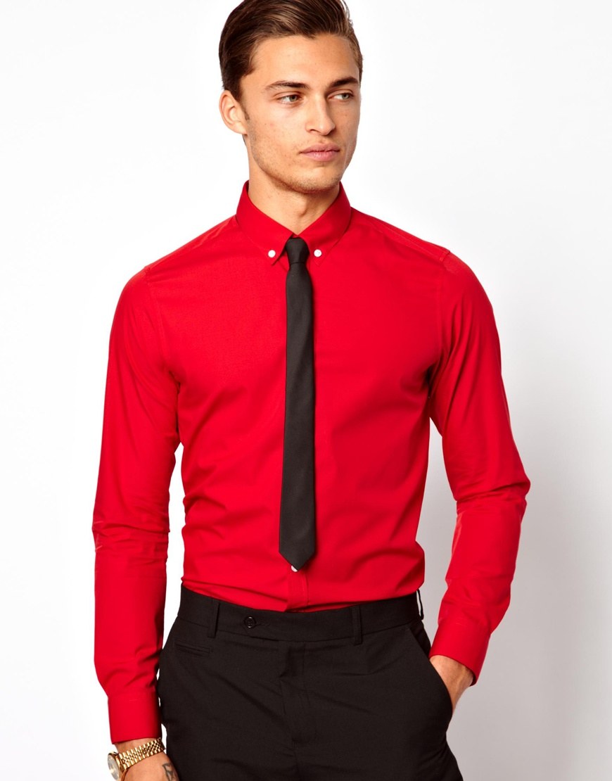 Lyst asos smart shirt with button down collar in red for men for Mens button collar shirts