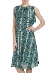 BCBGMAXAZRIA Python Print Pleated Skirt Dress - Lyst