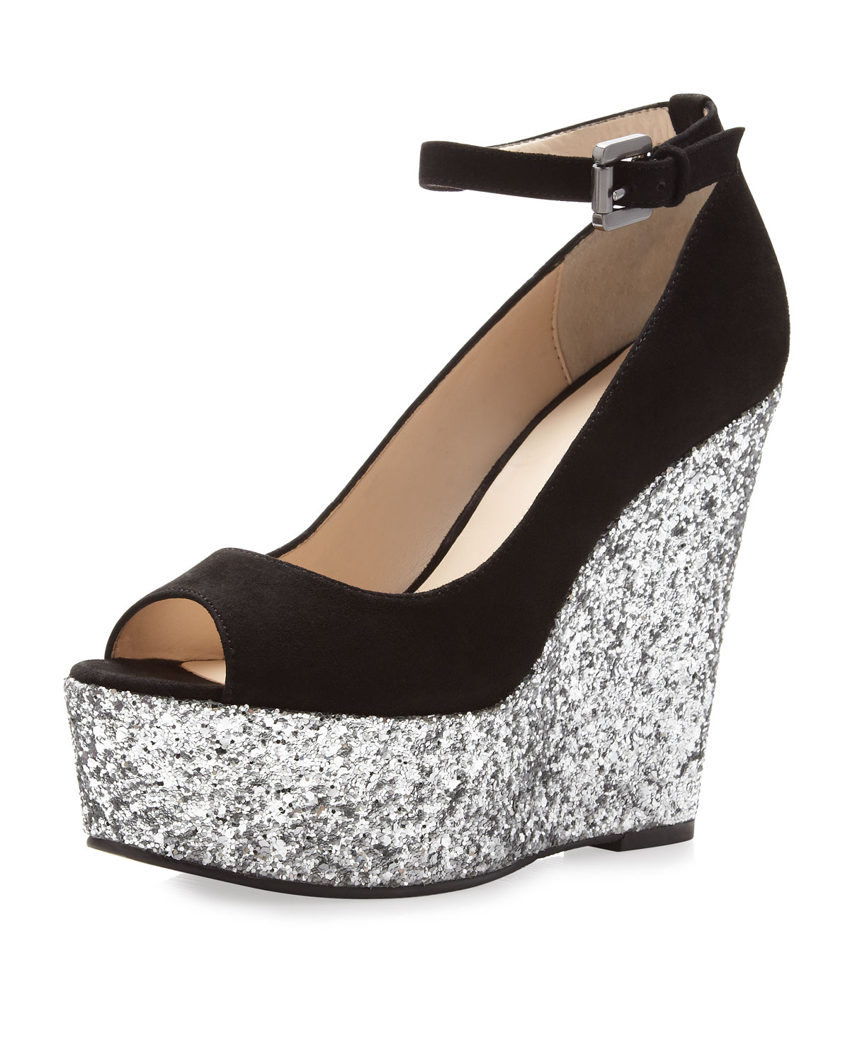 Boutique 9 Christine Sparkle Platform Wedge Black Silver
