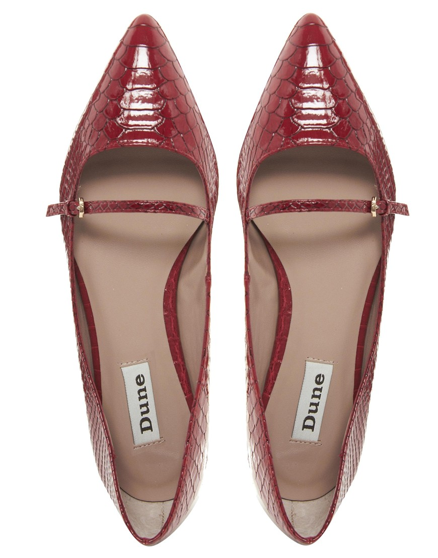 Lyst Dune Mathe Pointed Red Flat Shoes In Red